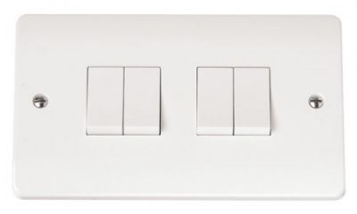 Scolmore Click Mode CMA019 10AX 4 Gang 2 Way Plate Switch