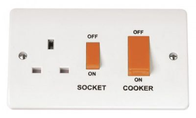 Scolmore Click Mode CMA204 45A Cooker Switch With 13A Switched Socket Outlet