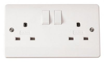Scolmore Click Mode CMA936 13A 2 Gang Switched Non-Standard Socket