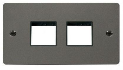 Scolmore Click Define FPBN404BK 2 Gang Plate (2+2) Switch Aperture