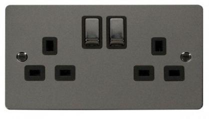 Scolmore Click Define FPBN536BK Ingot 2 Gang 13A DP Switched Socket