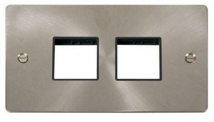 Scolmore Click Define FPBS404BK 2 Gang Plate (2+2) Switch Aperture - Black