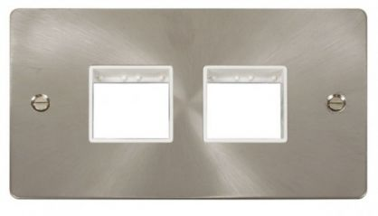 Scolmore Click Define FPBS404WH 2 Gang Plate (2+2) Switch Aperture - White