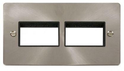 Scolmore Click Define FPBS406BK 2 Gang Plate (3+3) Switch Aperture - Black