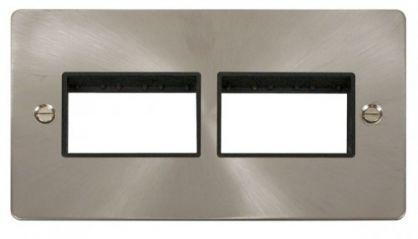 Scolmore Click Define FPBS406BK 2 Gang Plate (3+3) Switch Aperture - Black