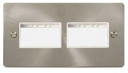 Scolmore Click Define FPBS406WH 2 Gang Plate (3+3) Switch Aperture - White
