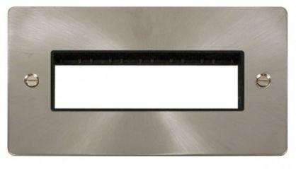 Scolmore Click Define FPBS426BK 2 Gang Plate 6 In-Line Switch Aperture - Black