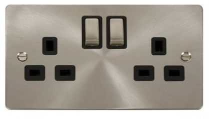 Scolmore Click Define FPBS536BK Ingot 2-Gang 13A DP Switched Socket - Black
