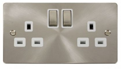 Scolmore Click Define FPBS536WH Ingot 2-Gang 13A DP Switched Socket - White