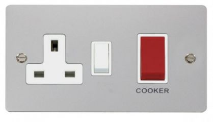 Scolmore Click Define FPCH204WH 45A DP Switch + 13A DP Switched Socket - White