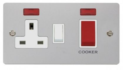 Scolmore Click Define FPCH205WH 45A DP Switch + 13A DP Switched Socket + Neons - White