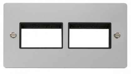 Scolmore Click Define FPCH406BK 2 Gang Plate (3+3) Switch Aperture - Black