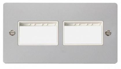 Scolmore Click Define FPCH406WH 2 Gang Plate (3+3) Switch Aperture - White