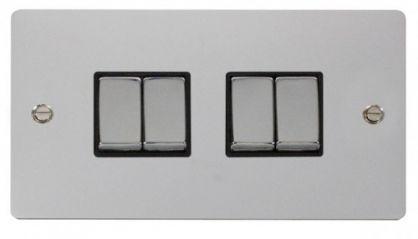 Scolmore Click Define FPCH414BK Ingot 10AX 4 Gang 2 Way Switch - Black