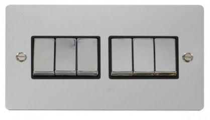 Scolmore Click Define FPCH416BK Ingot 10AX 6 Gang 2 Way Switch - Black