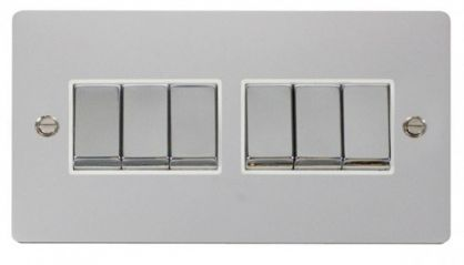 Scolmore Click Define FPCH416WH Ingot 10AX 6 Gang 2 Way Switch - White