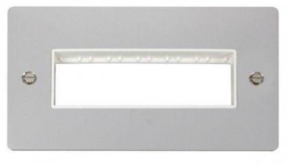 Scolmore Click Define FPCH426WH 2 Gang Plate 6 In-Line Switch Aperture - White