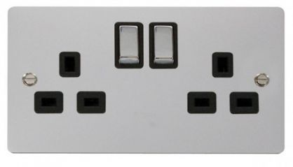 Scolmore Click Define FPCH536BK Ingot 2-Gang 13A DP Switched Socket - Black