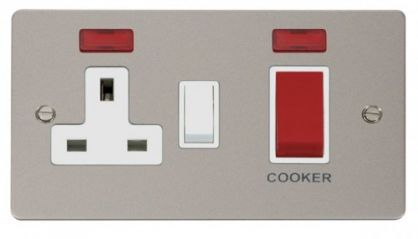 Scolmore Click Define FPPN205WH 45A DP Switch + 13A DP Switched Socket + Neons - White
