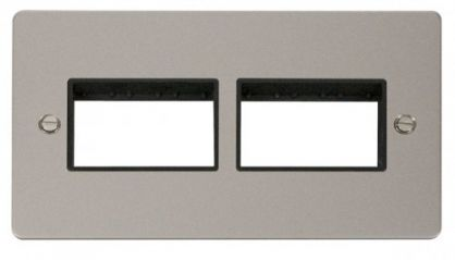 Scolmore Click Define FPPN406BK 2 Gang Plate (3+3) Switch Aperture - Black