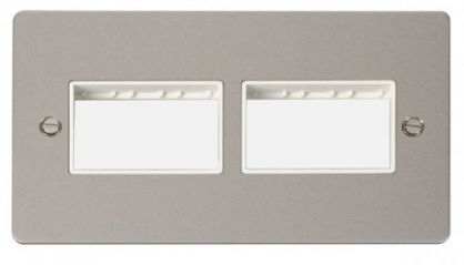 Scolmore Click Define FPPN406WH 2 Gang Plate (3+3) Switch Aperture - White