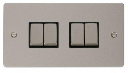 Scolmore Click Define FPPN414BK Ingot 10AX 4 Gang 2 Way Switch - Black