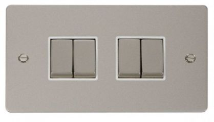 Scolmore Click Define FPPN414WH Ingot 10AX 4 Gang 2 Way Switch - White