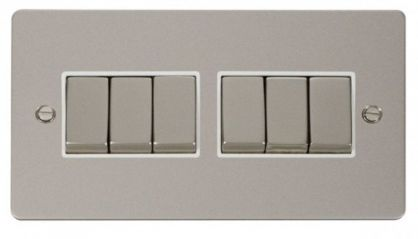 Scolmore Click Define FPPN416WH Ingot 10AX 6 Gang 2 Way Switch - White