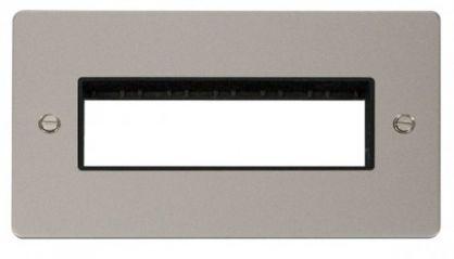 Scolmore Click Define FPPN426BK 2 Gang Plate 6 In-Line Switch Aperture - Black