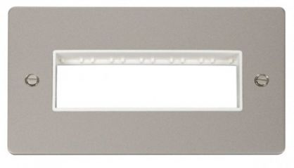 Scolmore Click Define FPPN426WH 2 Gang Plate 6 In-Line Switch Aperture - White