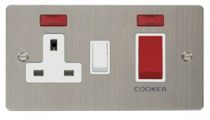 Scolmore Click Define FPSS205WH 45A DP Switch + 13A DP Switched Socket + Neons - White