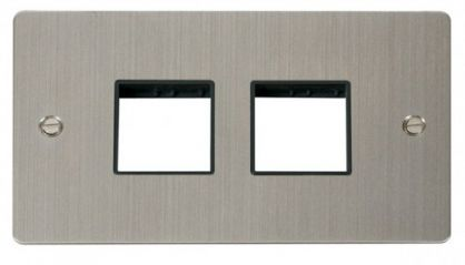 Scolmore Click Define FPSS404BK 2 Gang Plate (2+2) Switch Aperture - Black