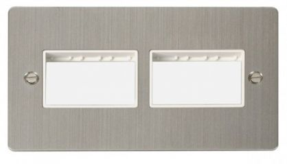 Scolmore Click Define FPSS406WH 2 Gang Plate (3+3) Switch Aperture - White