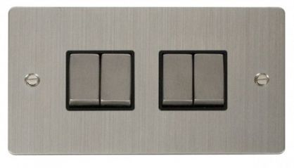 Scolmore Click Define FPSS414BK Ingot 10AX 4 Gang 2 Way Switch - Black