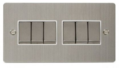 Scolmore Click Define FPSS416WH Ingot 10AX 6 Gang 2 Way Switch - White