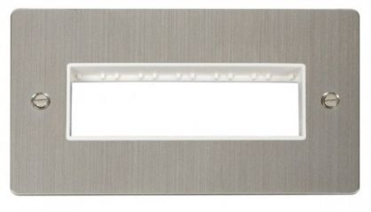Scolmore Click Define FPSS426WH 2 Gang Plate 6 In-Line Switch Aperture - White