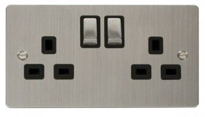 Scolmore Click Define FPSS536BK Ingot 2-Gang 13A DP Switched Socket - Black