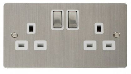 Scolmore Click Define FPSS536WH Ingot 2-Gang 13A DP Switched Socket - White