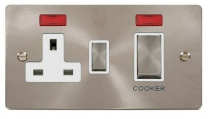 Scolmore Click Define FPBS505WH 45A DP Ingot Switch + 13A DP Switched Socket + Neons - White