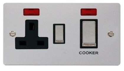 Scolmore Click Define FPCH505BK 45A Ingot DP Switch + 13A DP Switched Socket + Neons - Black