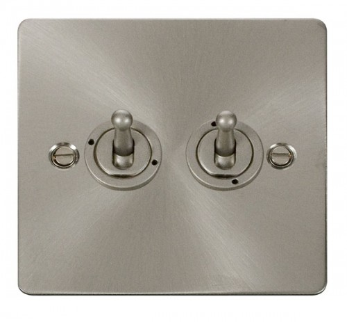 Click Define Brushed Stainless Steel FPBS Toggle Switches