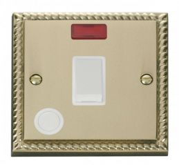 Scolmore Click Deco GCBR023WH 20A 1 Gang DP Switch With Flex Outlet And Neon - White