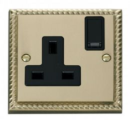 Scolmore Click Deco GCBR035BK 1 Gang 13A DP Switched Socket Outlet - Black