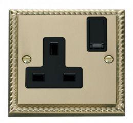 Scolmore Click Deco GCBR035BK 1 Gang 13A DP Switched Socket Outlet - Black