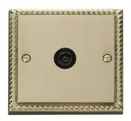 Scolmore Click Deco GCBR065BK Single Coaxial Socket Outlet - Black
