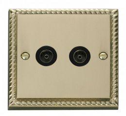 Scolmore Click Deco GCBR066BK Twin Coaxial Socket Outlet - Black