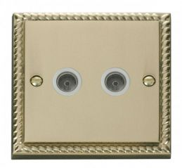 Scolmore Click Deco GCBR066WH Twin Coaxial Socket Outlet - White
