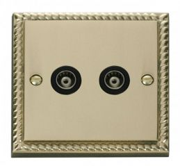Scolmore Click Deco GCBR159BK Twin Isolated Coaxial Socket Outlet - Black