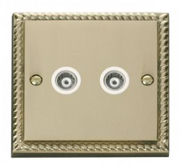 Scolmore Click Deco GCBR159WH Twin Isolated Coaxial Socket Outlet - White