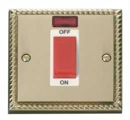 Scolmore Click Deco GCBR201WH 1 Gang 45A DP Switch With Neon - White